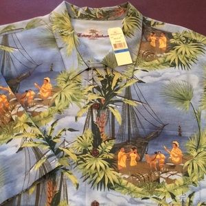 Tommy Bahama NWT Mens 100% Silk wooden button down